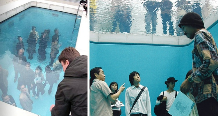 Different views of swimming pool art