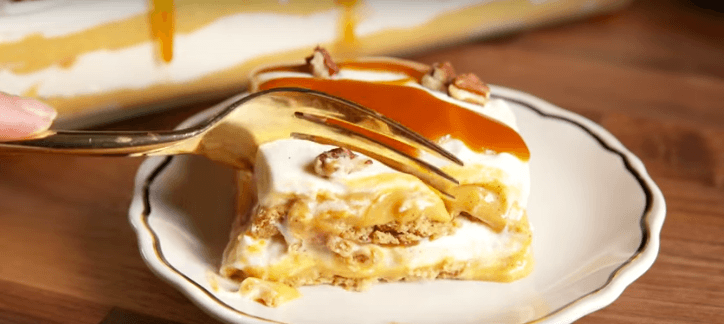 Slice of pumpkin cheesecake lasagna