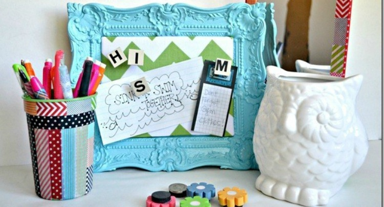 Make locker accessories like a mirror, magnets and frame with Dollar Store supplies