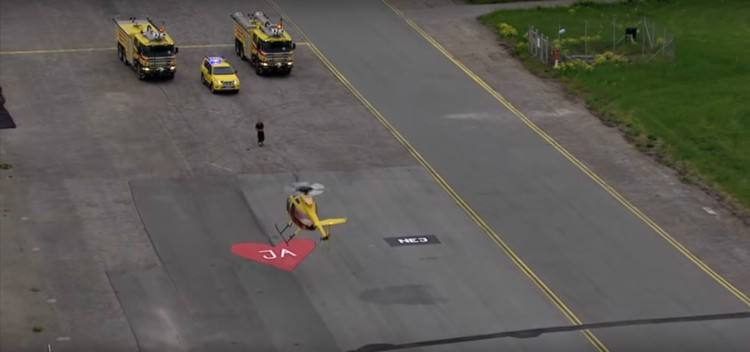 Image of helicopter landing on heart.