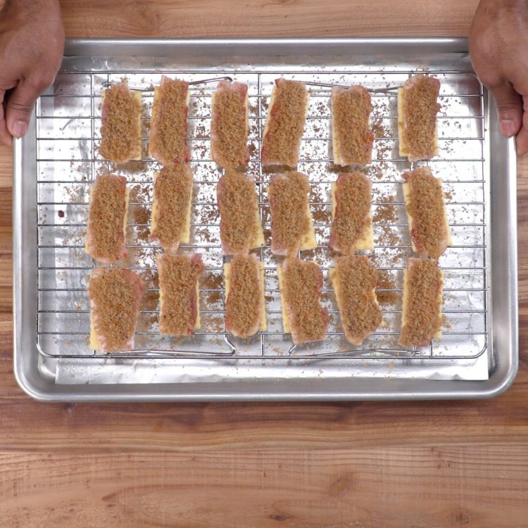 Bacon Crackers on rack.