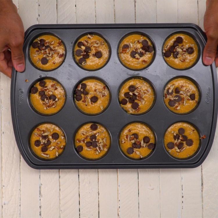 Flourless healthy pumpkin muffins before baking