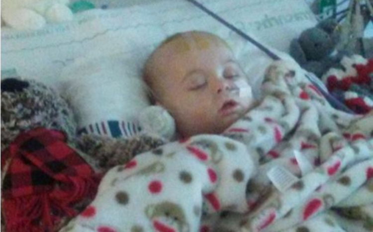 Baby Colton in hospital.