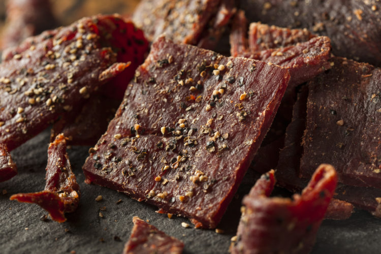 Image of Dried Peppered Beef Jerky Cut in Strips