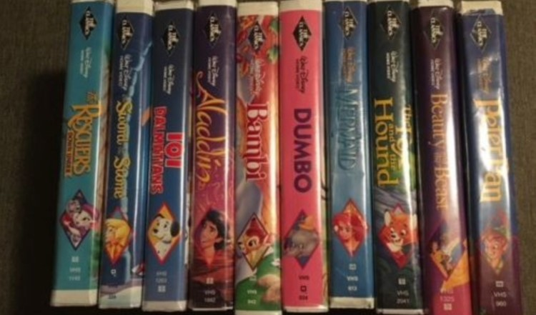 Image of Disney VHS tapes.