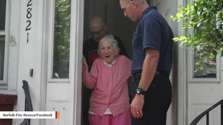 Image of Jeanette Carty being surprised on her 100th birthday