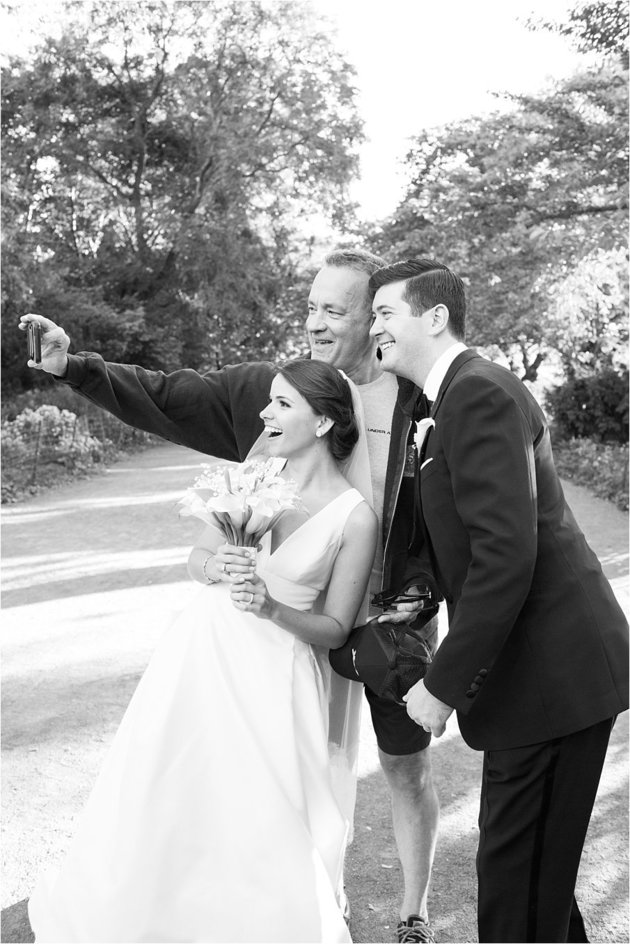 Selfie with Tom Hanks and the newlyweds.