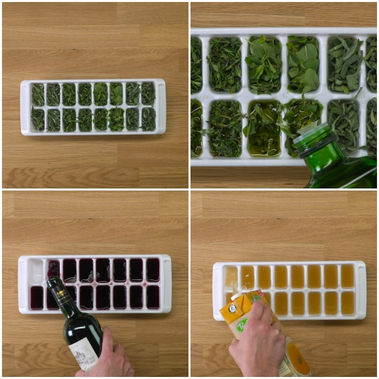 Freeze leftover herbs, wine and stock in ice cube tray