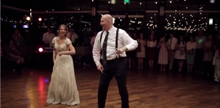 bride and father disco dance at wedding