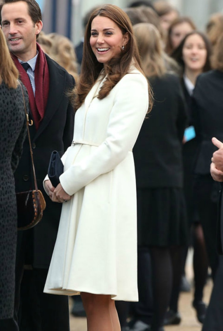 Image of Kate Middleton in white coat.