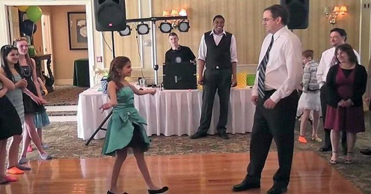 Jessica asks her dad to dance with her.