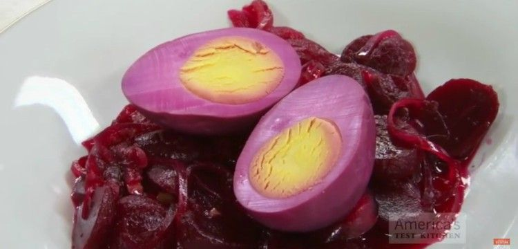 Image of pickled eggs with beets.