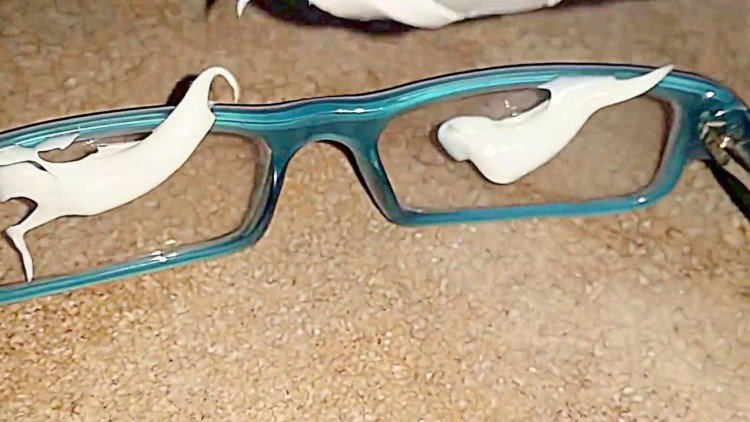 Image of toothpaste on glasses.