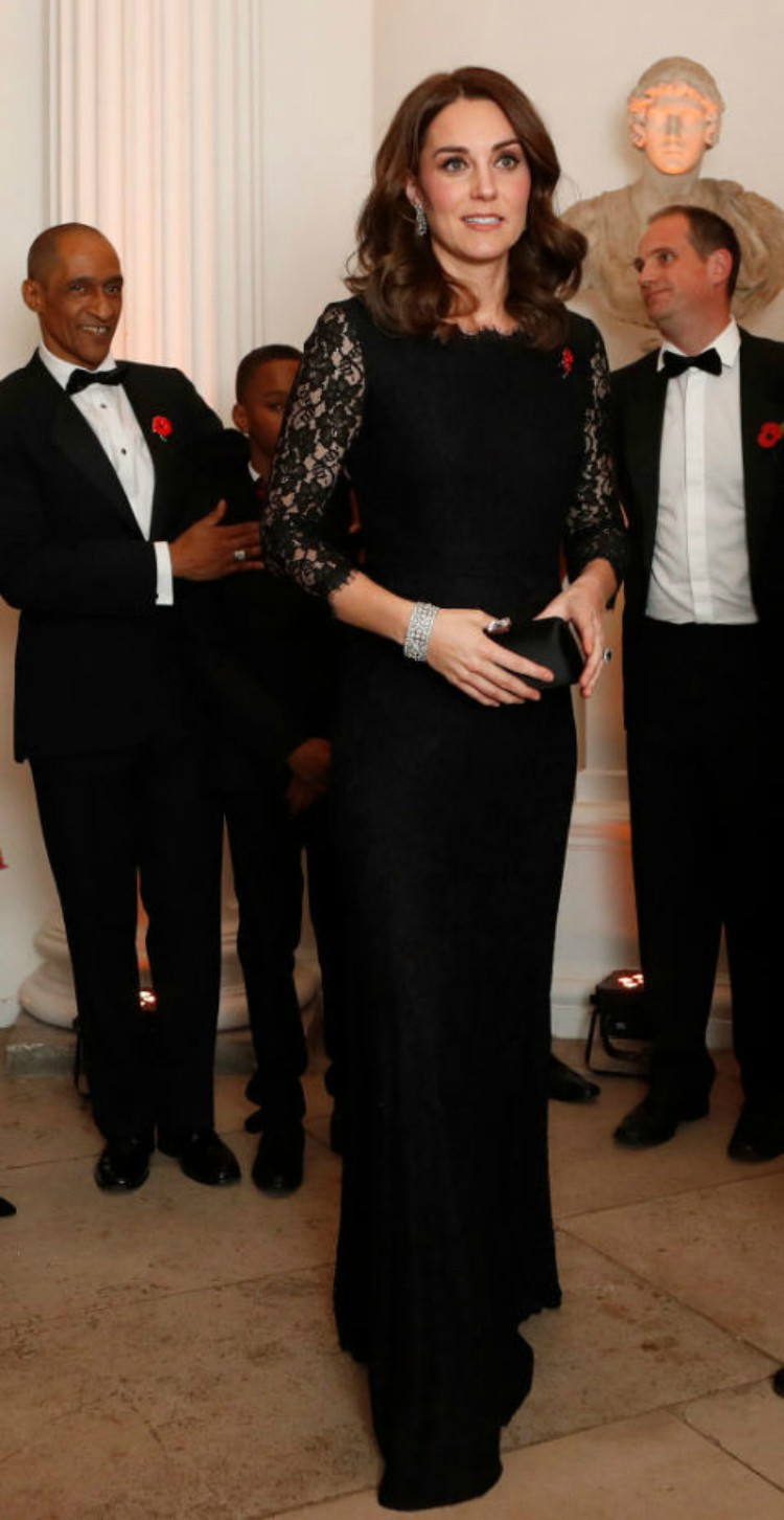 Image of Kate Middleton in long black lace gown.