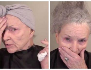 Split image of Joann Hopkins before makup