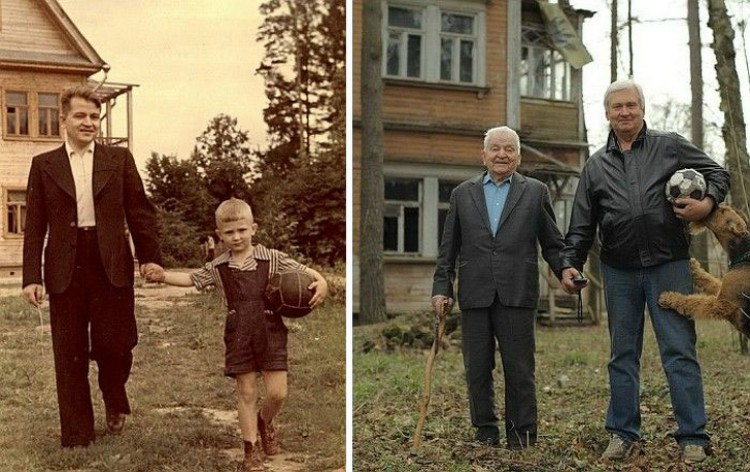 Image of father and son 60 years later