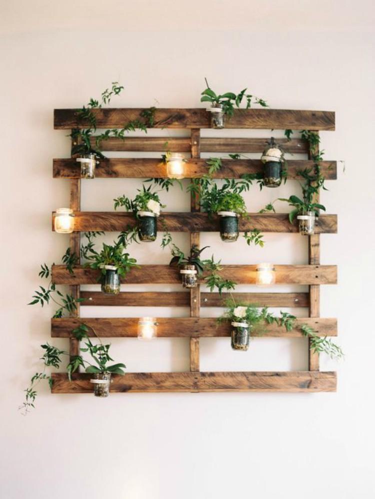 Planter with fairy light decor.