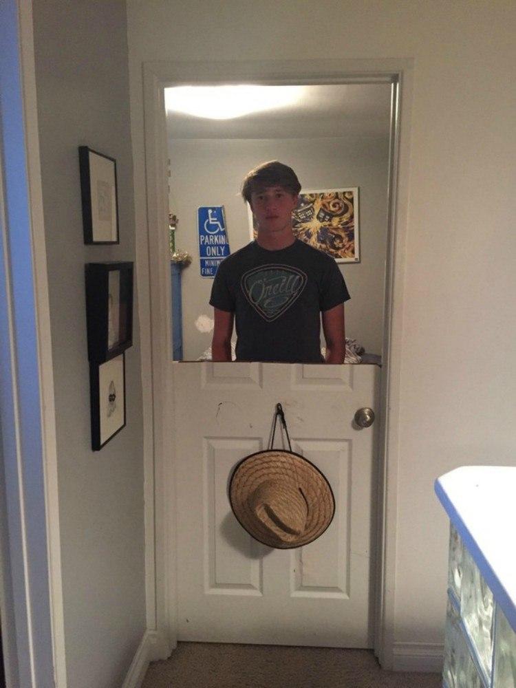 Teen gets his door sawed in half by dad.