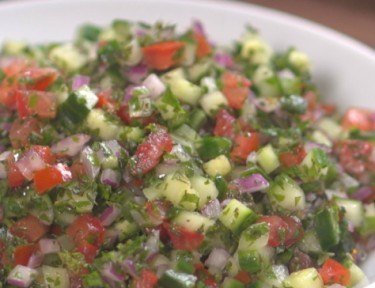 Close-up of Mediterranean Cucumber Salad for summer