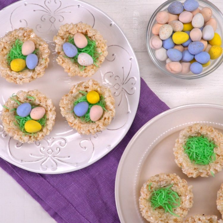 Rice Krispie Nests laid out making on plates