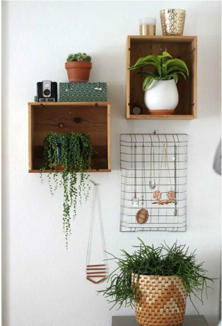 DIY plant holder using old drawers.