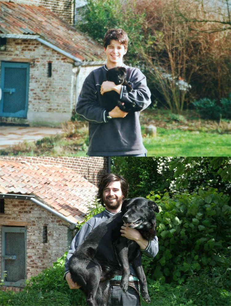 Image of man and dog 10 years apart
