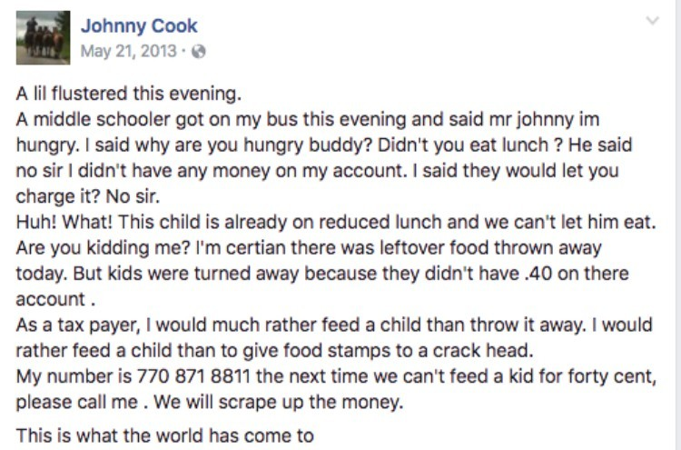 Johnny Cook's Facebook post