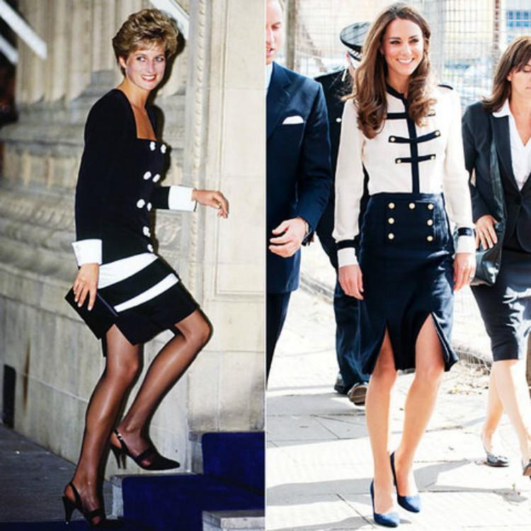 Image of Princess Diana and Kate Middleton wearing similar black and white skir