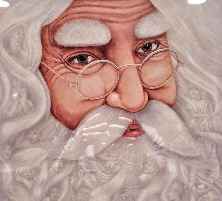 Children in Santa's beard.