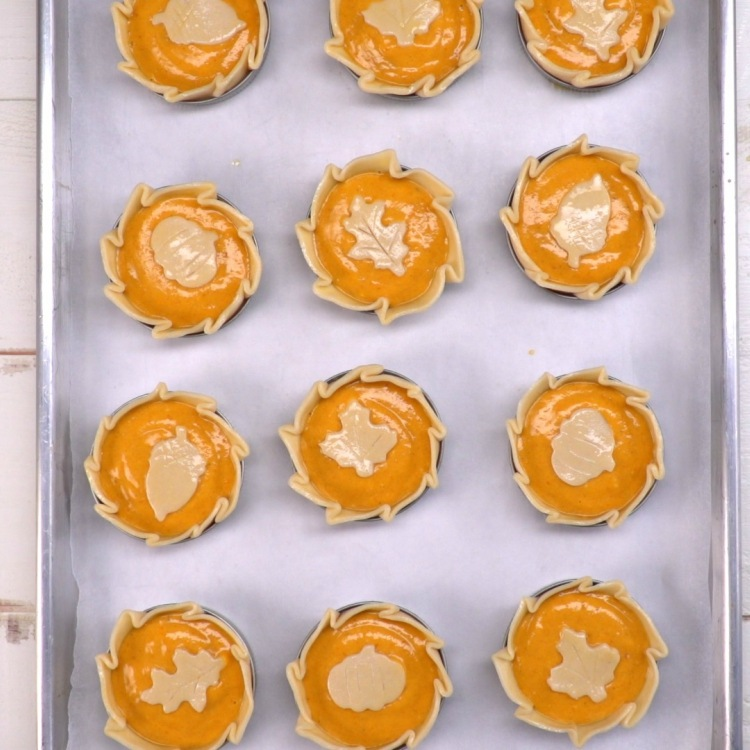Mason ring pumpkin pies on tray before baking