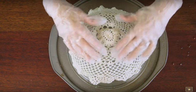 Image of doily on bowl.