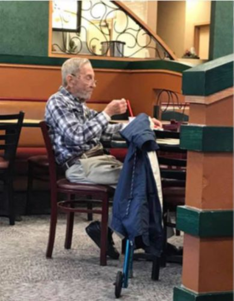 Image of old man at arby's