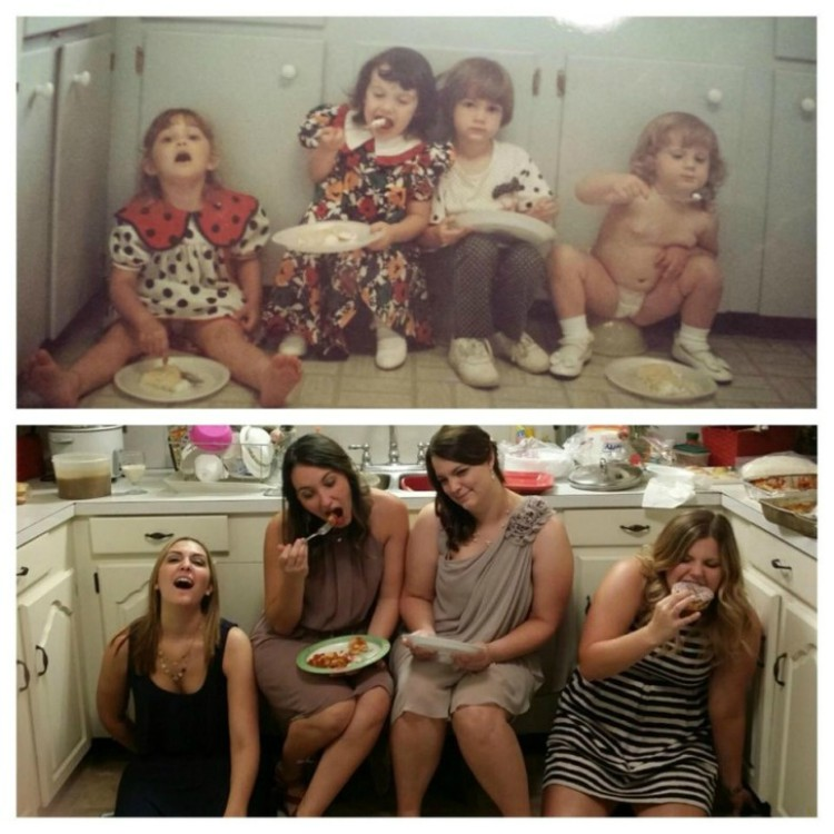 Image of four friends eating reenactment photo