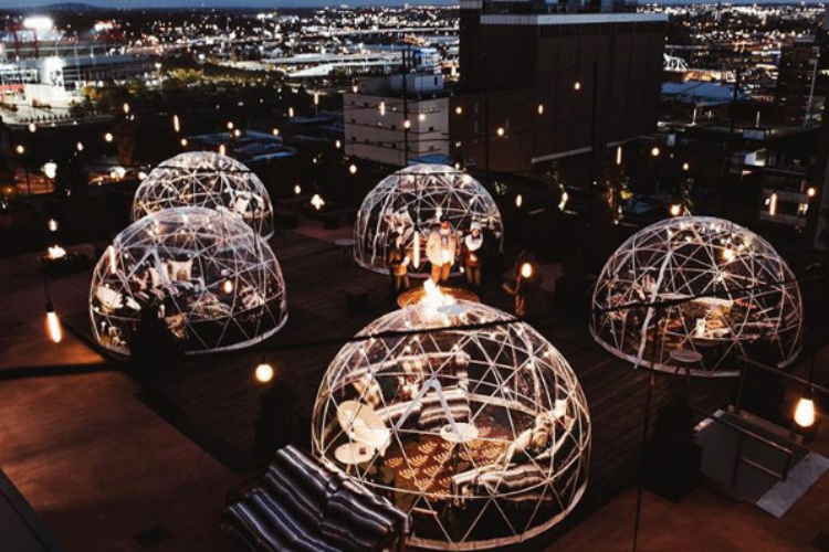 Image of heated igloos in nashville