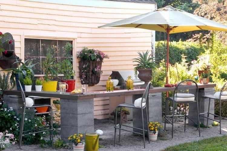 cinder block outdoor bar