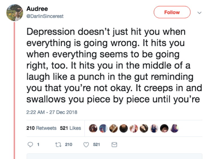 Image of tweet about depression