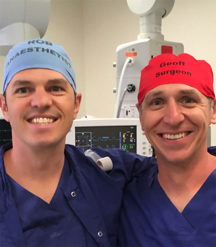 Image of doctors with names on caps