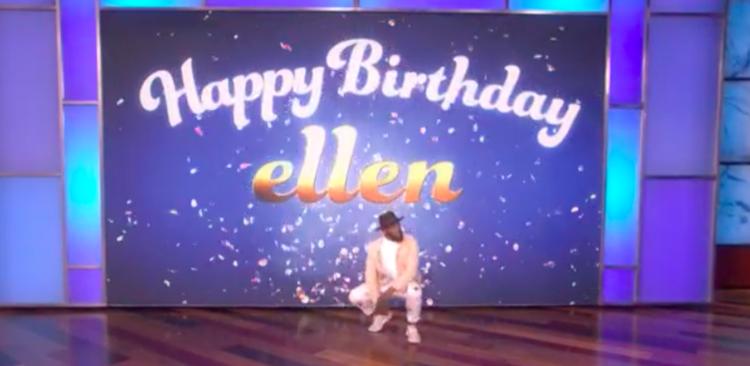 Image of tWitch on Ellen show with Happy Birthday Ellen sign behind him