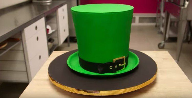 view of leprechaun hat cake