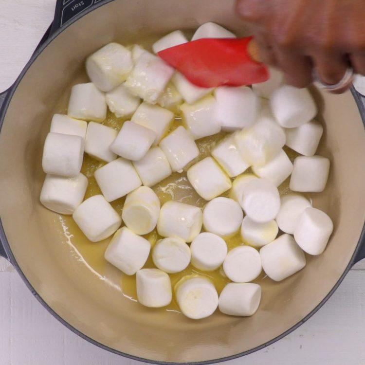 Rice Krispie Nests marshmallows in pot