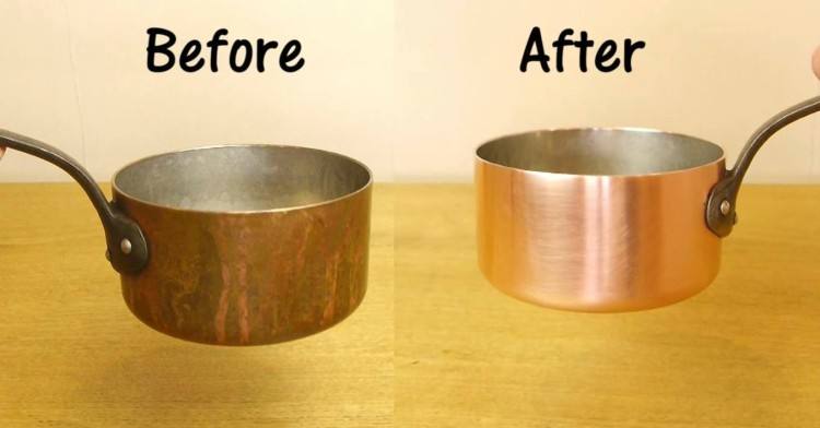 Split image of copper pot before and after cleaning