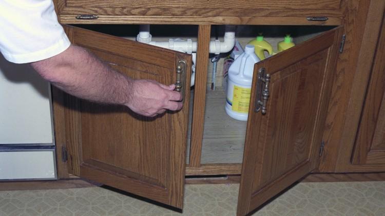 An open cabinet