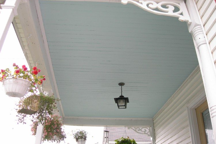 Image of haint blue porch ceiling.