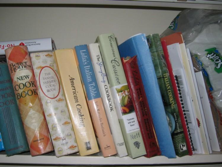 Image of cookbooks on shelf.