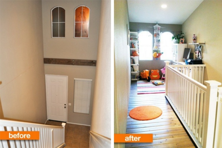 Before and after of a foyer converted into a loft