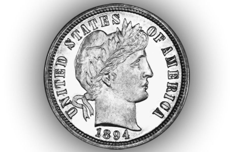 Image of 1894 S Barber dime.