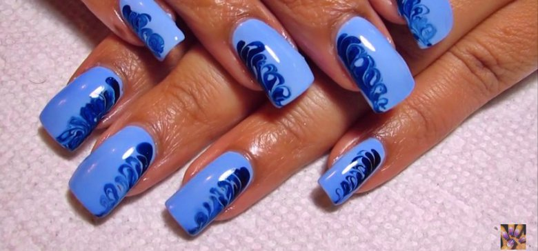 Water Free And Simple Drag Marble Nail Art