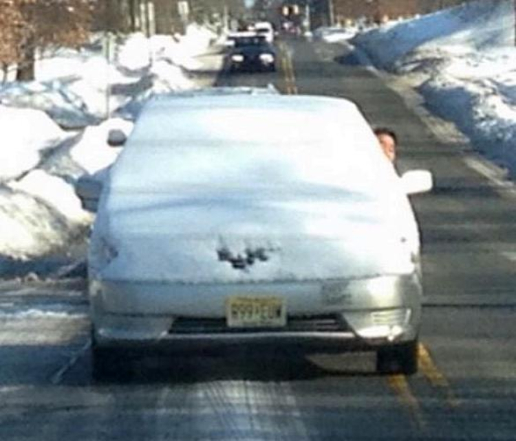 driving with snow on car