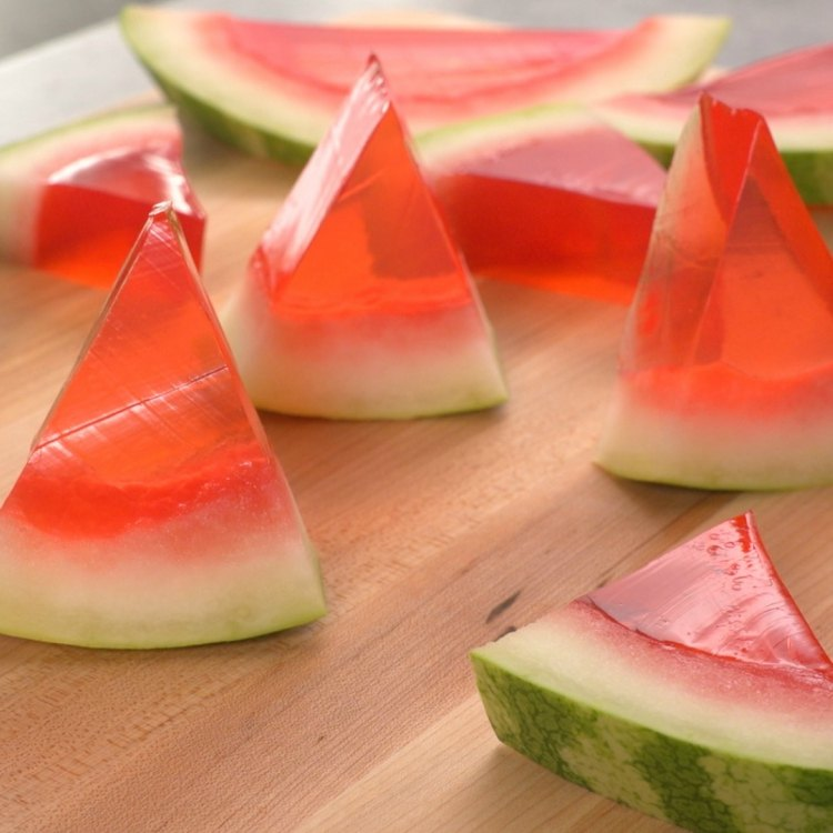 Jello shots flavored and in shape of watermelon slices