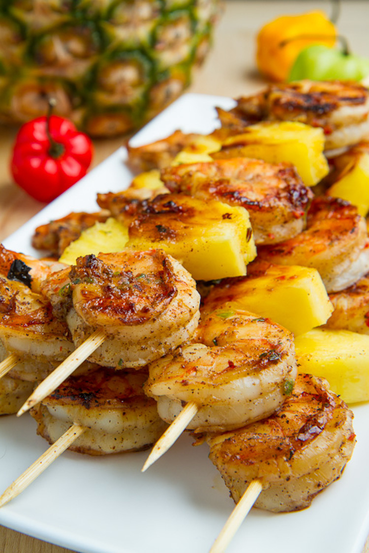 Grilled Jerk Shrimp and Pineapple Skewers closet cooking